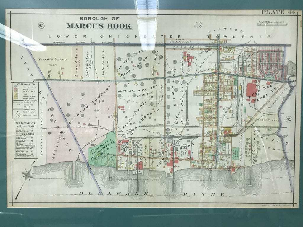 A map of the borough from 1915. Notice all the energy businesses, many on the site of what is now the Marcus Hook Industrial Complex. Also notice the layout of Viscose Village in the upper right. PHOTO BY MEG MCGUIRE