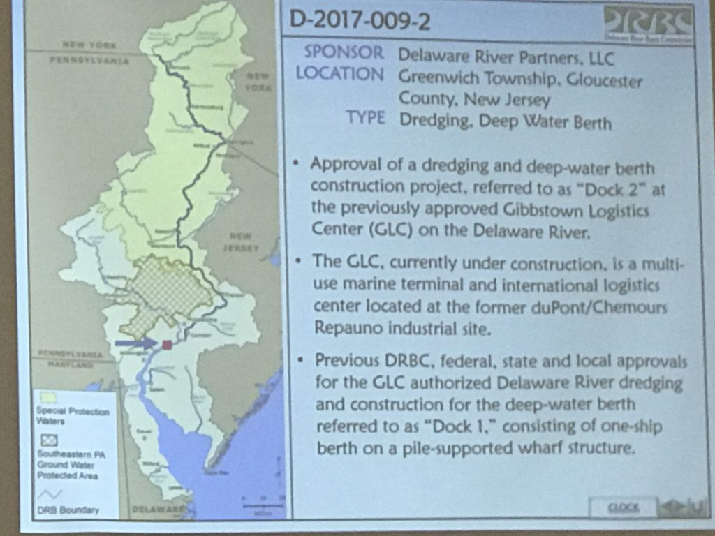 The general information about the deep-water berth and dredging project at the Gibbstown Logistics Center on the screen at the public hearing. PHOTO BY MEG MCGUIRE