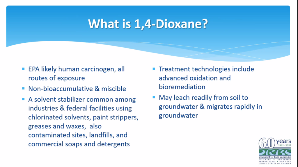 1,4-dioxane found in Delaware, Lehigh Rivers