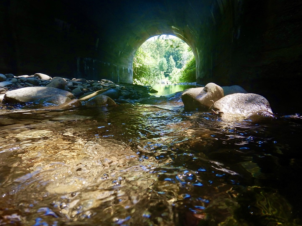 Hiking through a tunnel
