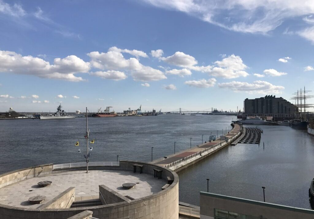 Looking south on the Delaware River from Penn's Landing, this is the section of the river that is experiencing the oxygen sag -- a problem with an expensive fix. PHOTO BY MEG MCGUIRE