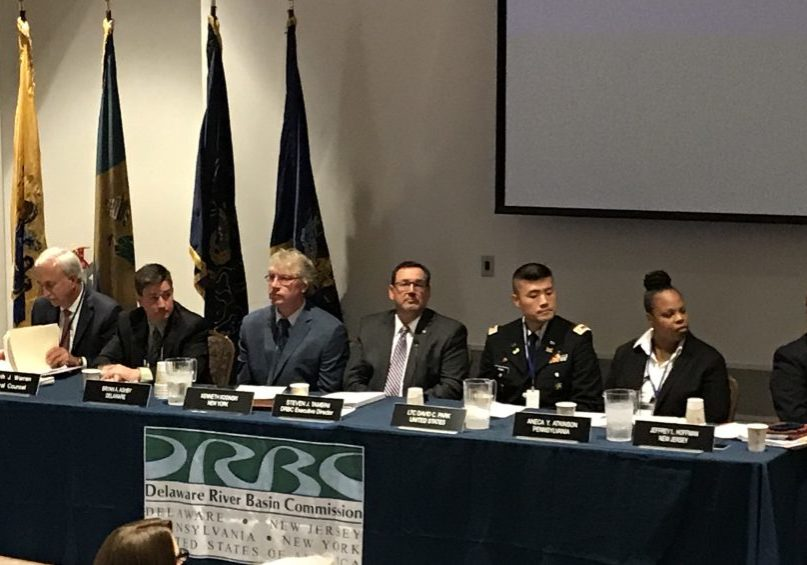 The Delaware River Basin Commission meeting Sept. 11, 2019 at Mercer County Community College, from left: Pam Bush, Commission Secretary and Asst. Gen. Counsel; Kenneth Warren, Gen. Counsel; Bryan Ashby, Delaware; Kenneth Kosinski, New York; Steve Tambini, Ex. Dir., DRBC; LTC David Park, U.S.A.C.E.; Aneca Atkinson, Pa.; Jeffrey Hoffman, New Jersey PHOTO BY MEG MCGUIRE