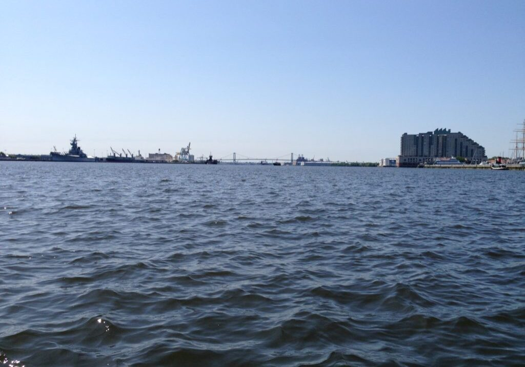 A paddler's eye view, looking downriver towards the Walt Whitman Bridge, with Philadelphia on your right, Camden on your left. PHOTOT BY MEG MCGUIRE
