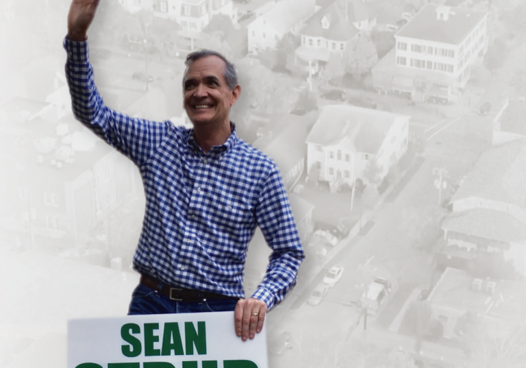 """The poster for the movie """"My Friend the Mayor"""" shows Sean Strub electioneering for the mayor's job in Milford, Pa"""