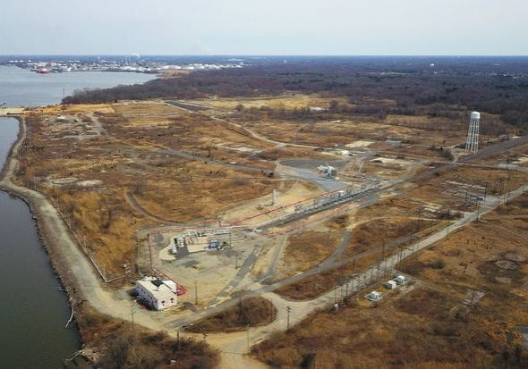An aerial view of the site in Gibbstown, N.J., where an expansion of its port facilities could lead to exportation of LNG transported from Pennsylvania. Photo credit:Tim Larsen/NJ Attorney General