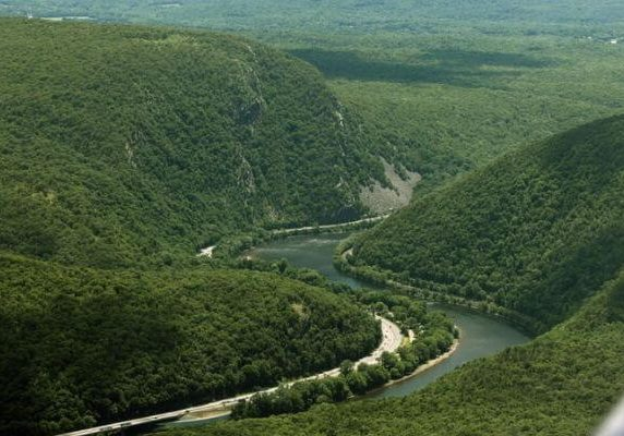 Interstate 80 and the Delaware River run through the Delaware Water Gap, separating New Jersey and Pennsylvania. -- Steve Novak | For lehighvalleylive.com | LightHawk