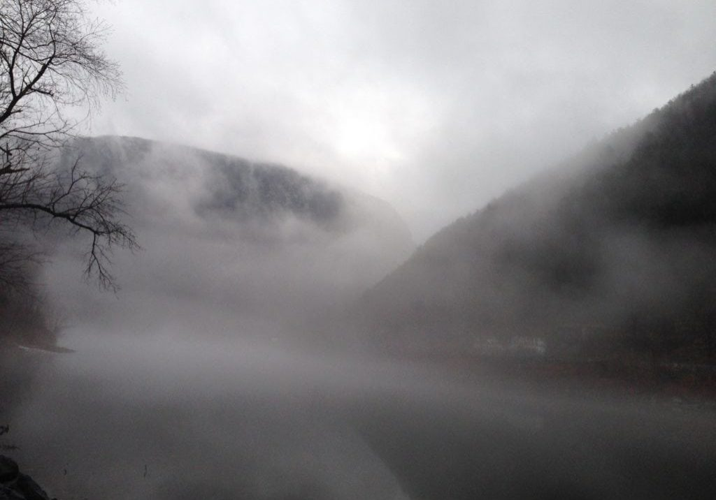 Fog shrouds the gap in Delaware Water Gap National Recreation Areas. PHOTO BY MEG MCGUIRE
