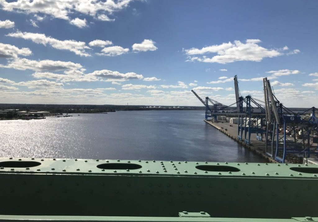 Crossing the Delaware over the Walt Whitman Bridge, overlooking the Packer Avenue Marine Terminal. PHOTO BY MEG MCGUIRE