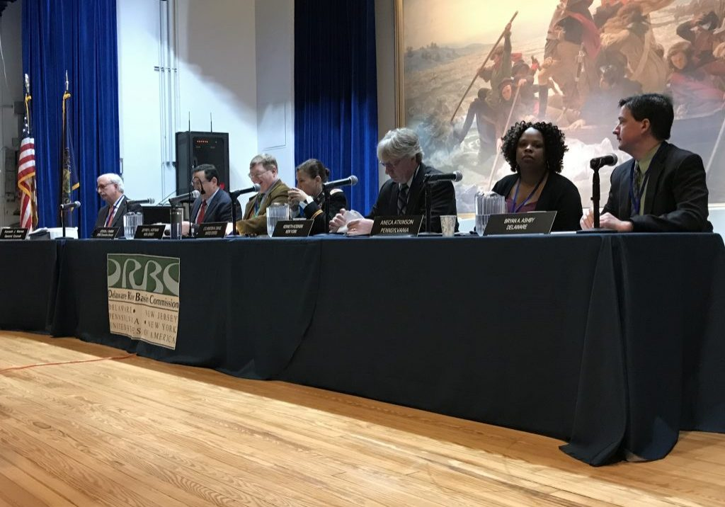 Representatives of the DRBC commissioners gather at Washington's Crossing, Pa, for its meeting on Dec. 12, 2018. From left to right, Kenneth J. Warren, General Counsel; Steve Tambini, executive director, DRBC; Jeffrey L. Hoffman, New Jersey; LTC. Kristen N. Dahle, U.S.A.C.E., federal representative; Kenneth Kosinski, New York; Aneca Atkinson, Pennsylvania; and Bryan Ashby, Delaware PHOTO BY MEG MCGUIRE