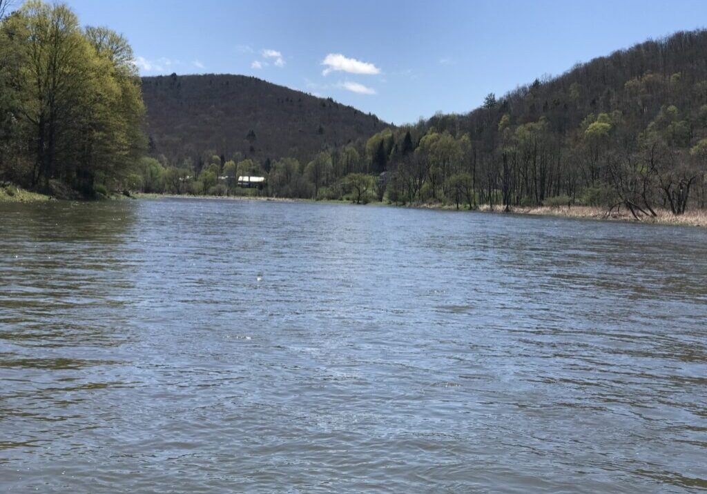 Spring! You can feel the warmth of the sun and the fresh scent of the water looking downriver on the West Branch of the Delaware River. PHOTO BY MEG MCGUIRE