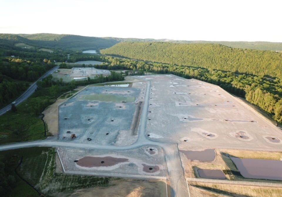 An aerial photo of the natural gas processing site in Wyalusing, Pa., where construction has been temporarily halted. The company behind the project expects production of LNG to begin in the first quarter of 2022.  Credit: The Rocket-Courier of Wyalusing, Pa.
