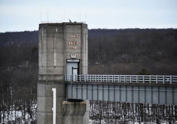 Tower of F.E. Walter Dam, subject of U.S.A.C.E. study and a crowded meeting to discuss that study on Jan. 9, 2019. PHOTO BY KURT BRESSWEIN FOR LEHIGHVALLEYLIVE.COM