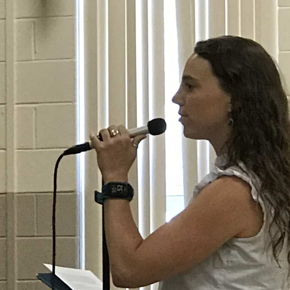 """Taylor Macfarland from NJ Sierra Club, """"The DRBC should not hold this hearing today. Those trucks delivering LNG to this site are bombs on wheels."""" PHOTO BY MEG MCGUIRE"""