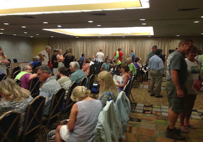 Some, not all, of the people who showed up for the Clinton, N.J., FERC hearing on the PennEast pipeline only to find that they would be giving their testimony in a closed room with no audience except for FERC officials.  PHOTO BY MEG MCGUIRE